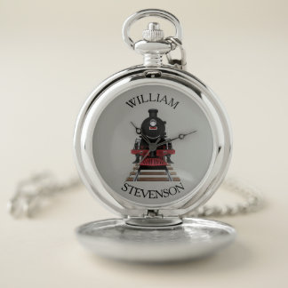 Personalized Locomotive Train Engine Conductors Pocket Watch