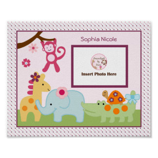 Personalized Lollipop Jungle Animals Photo Art Poster