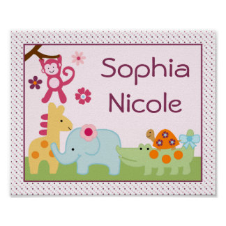 Personalized Lollipop Jungle Animals Poster Print