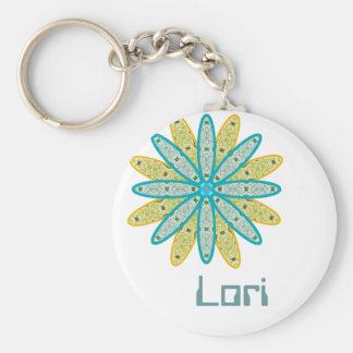 Personalized LORI Kaleidoscope Floral Keychain
