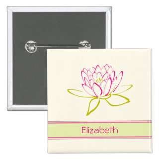 Personalized. Lotus Flower / Water Lily 2 Inch Square Button