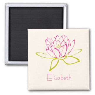 Personalized. Lotus Flower / Water Lily Drawing Magnet
