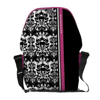 Personalized Love Bird Damask Pink Racing Stripe Messenger Bag