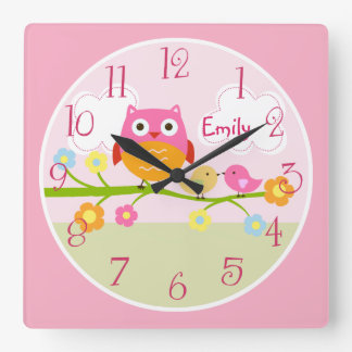 Personalized Love Birds and Owl on Branch  Clock