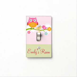 Personalized Love Birds and Owl Switch Plate