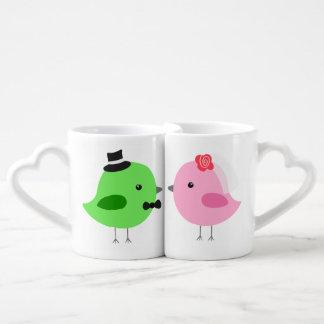 Personalized Love Birds Coffee Mug Set