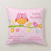 "Personalized ""Love Birds & Owl with dots"" Pillow"