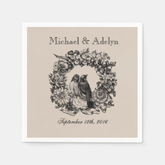 Personalized Love Birds Wreath Wedding Napkins Paper Napkin