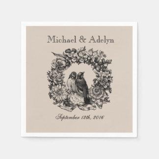Personalized Love Birds Wreath Wedding Napkins Standard Cocktail Napkin