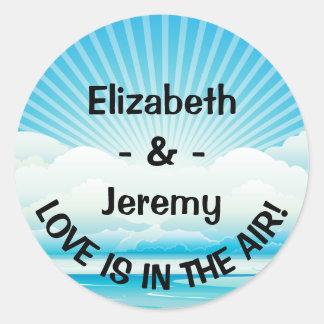 Personalized Love Blue Nautical Wedding Classic Round Sticker