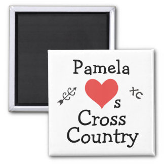 Personalized Love Cross Country Running 2 Inch Square Magnet