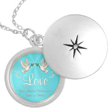 Bride Themed Personalized Love Dove Necklace or Locket