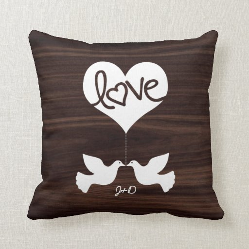 Personalized Love Doves Throw Pillows