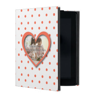 Personalized Love heart photo frame and dots iPad Cases