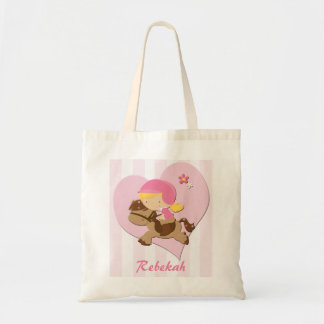 Personalized Love Horseriding Pink Stripes Budget Tote Bag