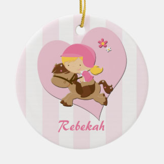 Personalized Love Horseriding Pink Stripes Ceramic Ornament