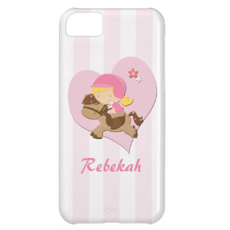 Personalized Love Horseriding Pink Stripes Cover For iPhone 5C