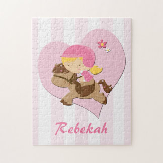 Personalized Love Horseriding Pink Stripes Jigsaw Puzzle