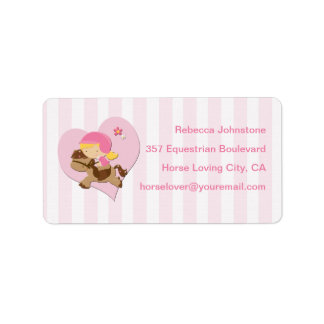 Personalized Love Horseriding Pink Stripes Label