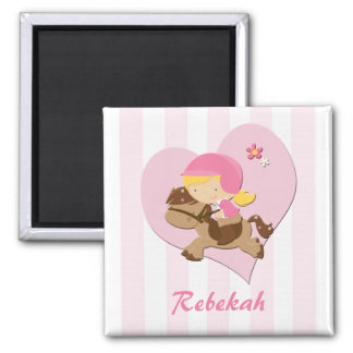 Personalized Love Horseriding Pink Stripes Fridge Magnet