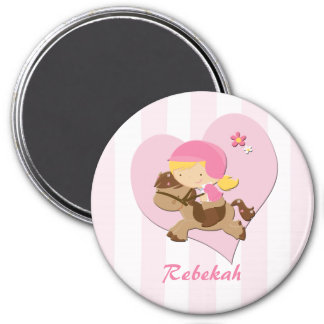 Personalized Love Horseriding Pink Stripes Magnets