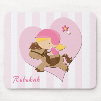 Personalized Love Horseriding Pink Stripes Mouse Pad