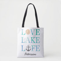 Personalized Love Lake Life Nautical Watercolor Tote Bag