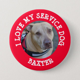 Personalized Love my Service Dog Day Button