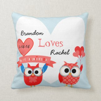Personalized Love Owls Valentine Pillow