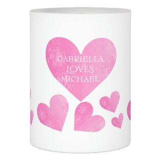 Personalized Love Pink Heart Candle