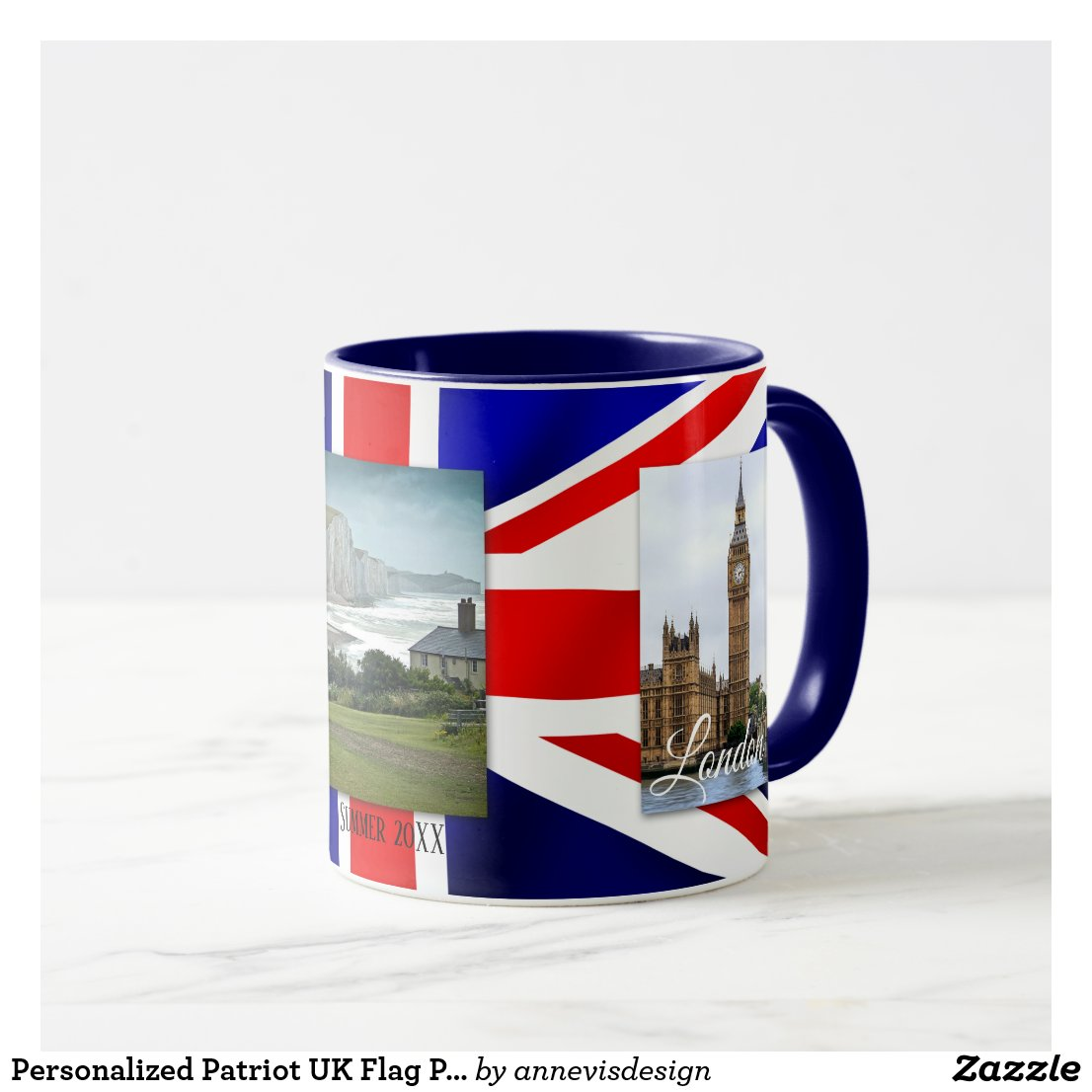 Personalized Love UK Flag Photo Mug
