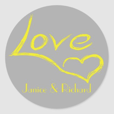 Professional Business Personalized Love Yellow And Gray Heart Classic Round Sticker