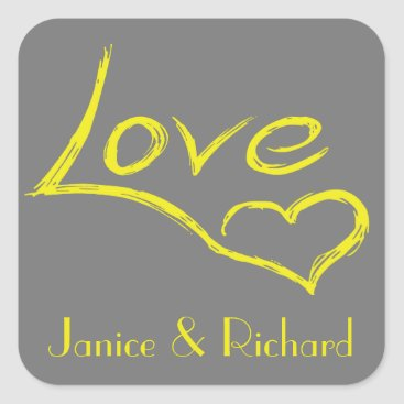 Professional Business Personalized Love Yellow And Gray Heart Square Sticker