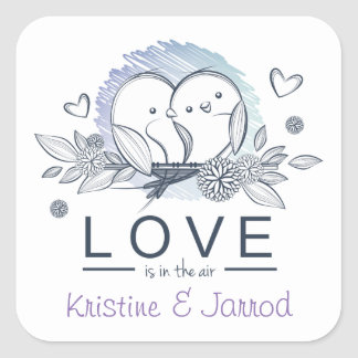 Personalized Lovebirds Purple Love Wedding Square Sticker