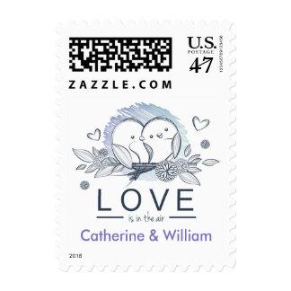 Personalized Lovebirds Purple Wedding Love Postage