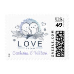 Personalized Lovebirds Purple Wedding Postage Stamp