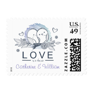 Personalized Lovebirds Purple Wedding Postage Stamp