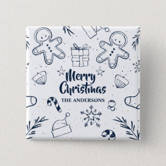Personalized Lovely Christmas Sketch Pin Button