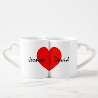 Personalized lovers mug set with name of couple