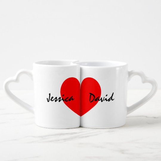 298ead0f1 Personalized lovers mug set with name of couple | Zazzle.com