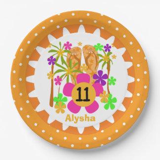 Personalized Luau 11th Birthday Paper Plates