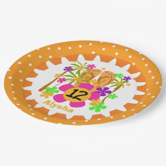 Personalized Luau 12th Happy Birthday Paper Plates 9 Inch Paper Plate