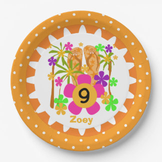 Personalized Luau 9th Birthday Paper Plates