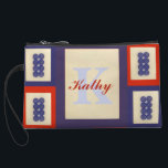 """Personalized Lucky Blue Eight Wheel Mahjong Tile Wristlet Wallet<br><div class=""""desc"""">Fun and colorful purse that some lucky mahjong player will love using. The number eight is considered very lucky in many Asian countries. I&#39;ve put one of the &quot;eight&quot; wheel tiles on alternating rectangles of red and blue. Each tile is white with eight blue wheels (also referred to as dots,...</div>"""