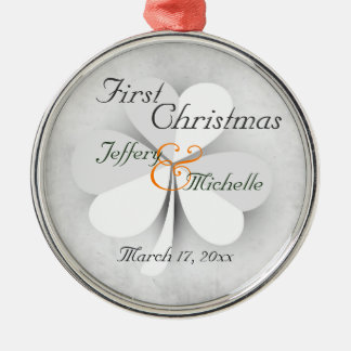 Personalized Lucky Clover Irish First Christmas Metal Ornament