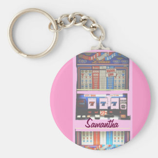Personalized Lucky Slot Machine Keychain Pink