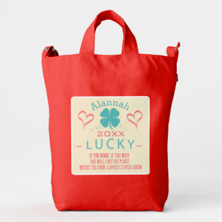 Personalized Lucky Work, Wait, Find 4 Leaf Clovers Duck Canvas Bag