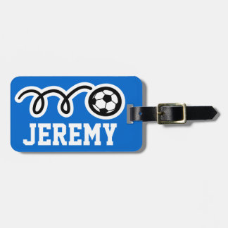 Personalized luggage tag with sports soccer ball