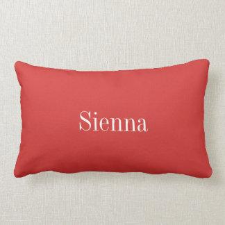 Personalized lumbar pillow, red, white lumbar pillow