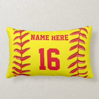 Personalized Lumbar Softball Pillows for Girls